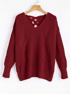 Sheer Criss Cross V Neck Sweater - Wine Red
