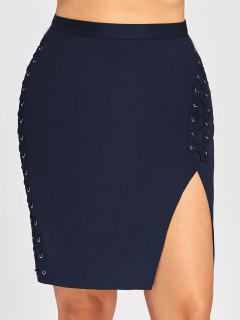 Plus Size Criss Cross Slit High Waist Skirt - Deep Blue 2xl