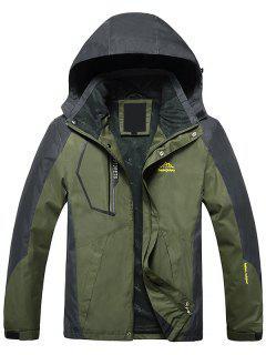 Color Block Zipper Wind Jacket - Army Green 2xl