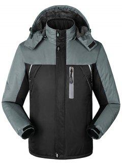 Hooded Fur Lining Hooded Outdoor Jacket - Black Xl