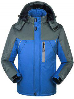 Hooded Fur Lining Hooded Outdoor Jacket - Blue L