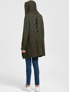 Drop Pockets Lace Up Cardigan - Army Green M