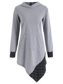 Polka Dot Tunic Sweat à Capuche Asymétrique - Gris Xl