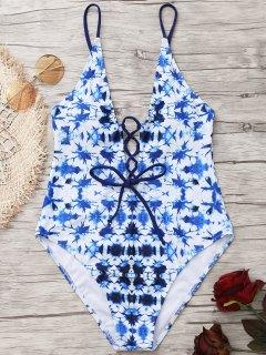 High Cut Lace Up Tie Maillot De Bain Teint - Bleu 2xl