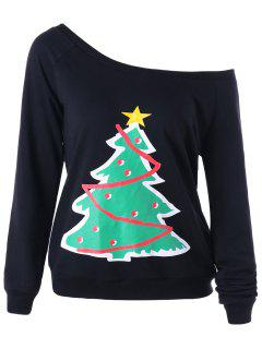 Christmas Tree One Shoulder Sweatshirt - Black 2xl