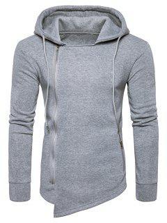 Hooded Drawstring Asymmetric Zip Up Hoodie - Light Gray 2xl