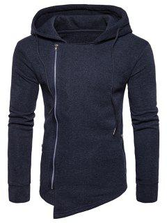 Hooded Drawstring Asymmetric Zip Up Hoodie - Deep Gray M
