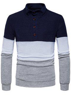 Stand Collar Buttons Color Block Knitted Sweater - Cadetblue S