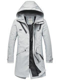 Multi Pockets Zip Up Hooded Trench Coat - Light Gray L