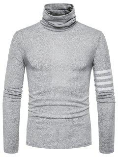 Turtle Neck Stripe Braid Embellished Knitted Sweater - Light Gray M