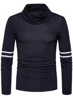 Turtle Neck Stripe Rib Panel Knitted Sweater - Black M
