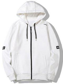 Graphic Embroidered Drawstring Zip Front Hoodie - White M