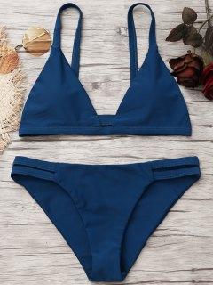 Ladder Cut Cami Ruched Bikini - Deep Blue M