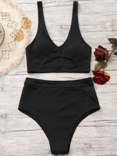 Plunge Cut Out High Waisted Bikini - Black Xl