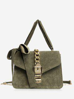 Buckle Strap Bow Chain Crossbody Bag - Green