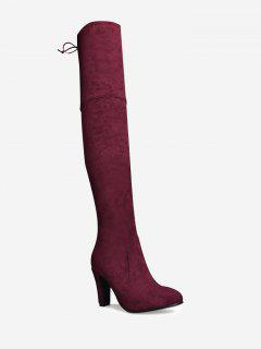 Tie Back Mid Heel Thigh High Boots - Wine Red 42