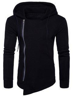 Hooded Drawstring Asymmetric Zip Up Hoodie - Black 2xl