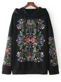 Drawstring Floral Oversized Hoodie - Black M