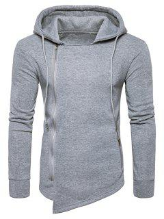 Hooded Drawstring Asymmetric Zip Up Hoodie - Light Gray L