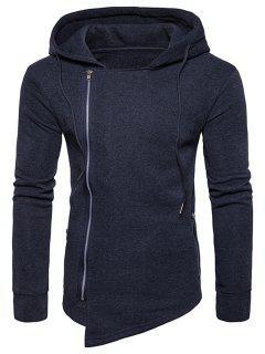 Hooded Drawstring Asymmetric Zip Up Hoodie - Deep Gray 2xl