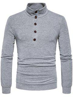 Stand Collar Buttons Long Sleeve Knitted Sweater - Light Gray S