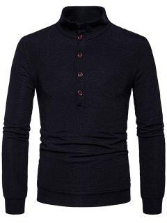 Stand Collar Buttons Long Sleeve Knitted Sweater - Black M