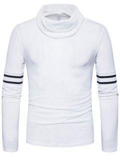 Turtle Neck Stripe Rib Panel Knitted Sweater - White M