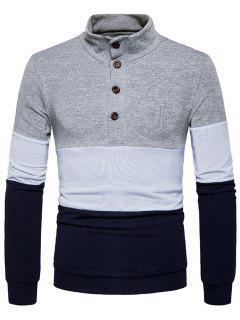 Botones Del Cuello Del Soporte Color Block Sweater De Punto - Gris Claro M