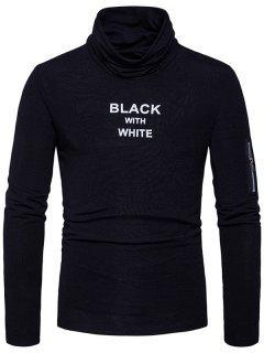 Cowl Neck Graphic Print Zipper Long Sleeve T-shirt - Black L