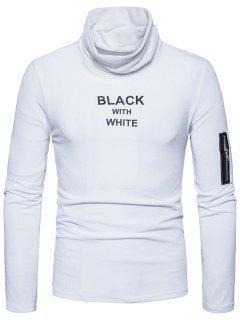 Cowl Neck Graphic Print Zipper Long Sleeve T-shirt - White L
