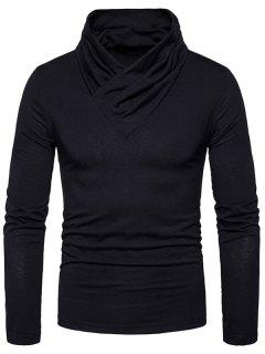 Cowl Neck Classical Long Sleeve T-shirt - Black S