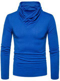 Cowl Neck Classical Long Sleeve T-shirt - Blue L