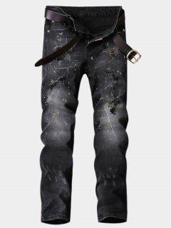 Zipper Fly Straight Leg Paint Ripped Jeans - Deep Gray 32