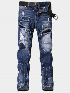 Zipper Fly Paint Print Patch Ripped Jeans - Blue 34