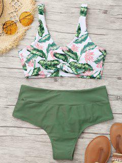 Palm Leaf Bikini Top Und Geraffte Böden - Bundeswehrgrün S