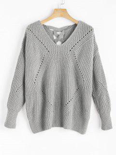 Sheer Criss Cross V Neck Sweater - Gray