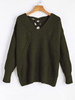 Sheer Criss Cross V Neck Sweater - Army Green