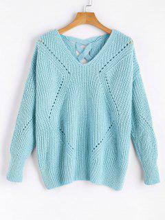 Sheer Criss Cross V Neck Sweater - Light Blue