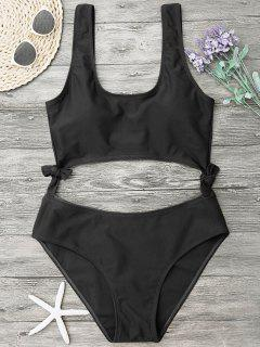 High Leg Cut Out Bowknot Swimwear - Black L
