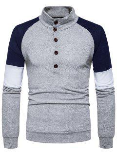 Cuello Alto Botones Color Block Panel Sweater - Gris Claro Xl