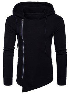 Hooded Drawstring Asymmetric Zip Up Hoodie - Black Xl