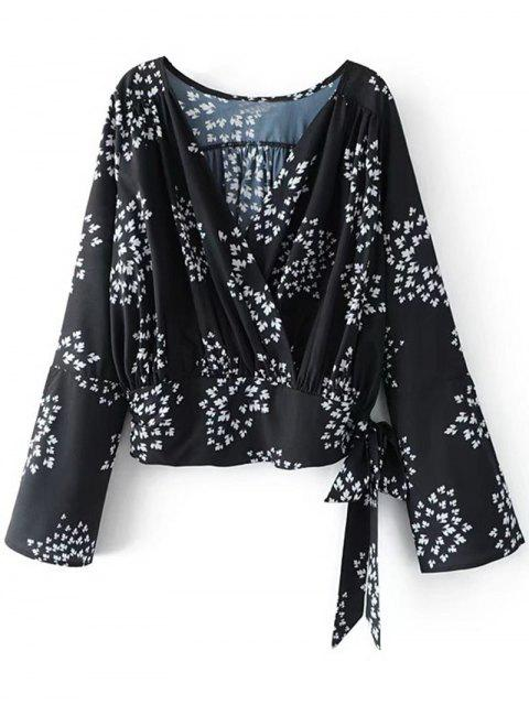 shop Printed Crossed Front Bowknot Top - BLACK S Mobile