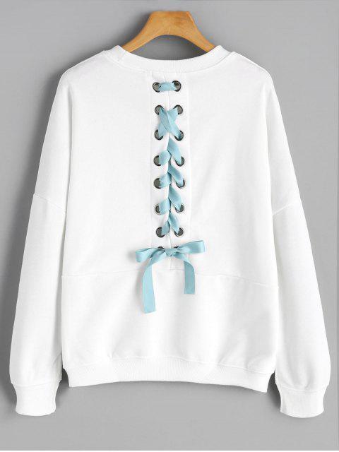 shop Back Lace Up Drop Shoulder Plain Sweatshirt - WHITE S Mobile