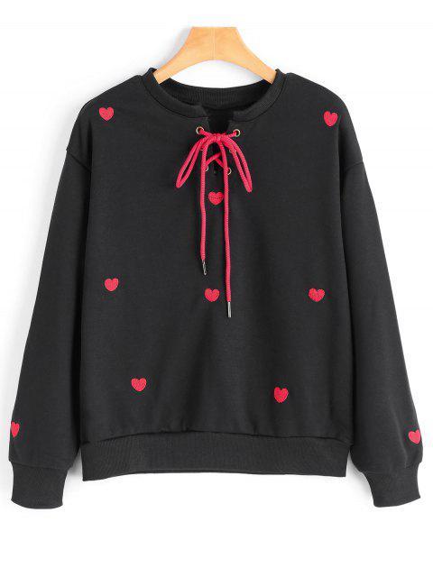 Herzstickerei Aufnäher Schnürsenkel Sweatshirt - Schwarz L Mobile