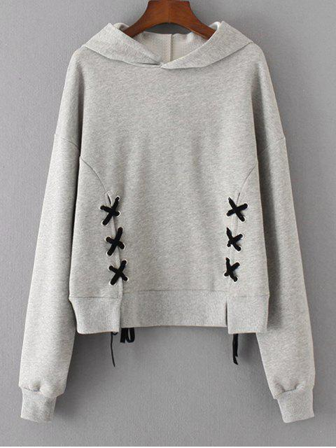 fancy Contrasting Drawstring Lace Up Hoodie - GRAY M Mobile