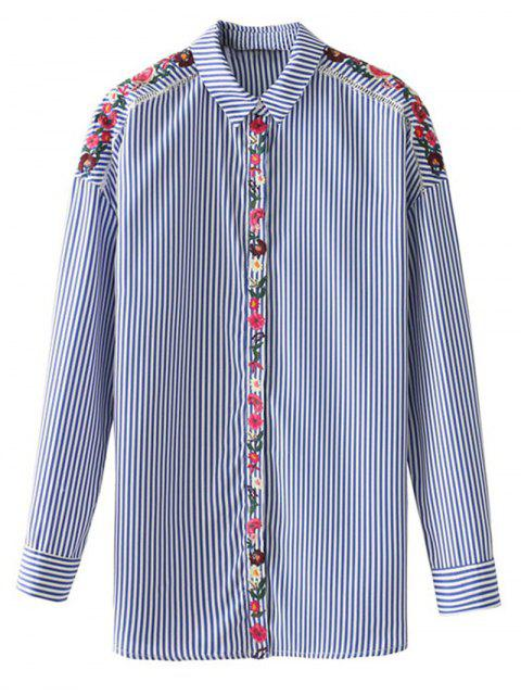 womens Floral Embroidered Sheer Striped Shirt - STRIPE M Mobile