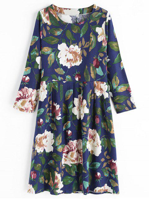 unique Round Collar Long Sleeve Flower Dress - BLUE 2XL Mobile