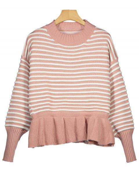 fancy Drop Shoulder Ruffle Hem Striped Sweater - PINK ONE SIZE Mobile