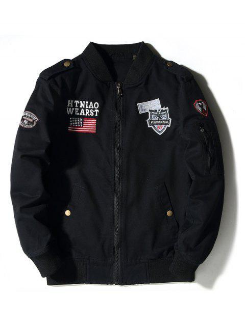 shop Enbroidered Applique Bomber Jacket - BLACK 3XL Mobile