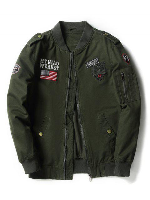 best Enbroidered Applique Bomber Jacket - ARMY GREEN M Mobile
